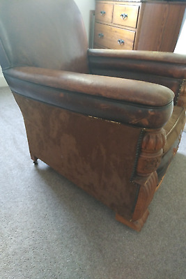 Pair of Art Deco / Crafts Leather & Suede Lounge Chairs