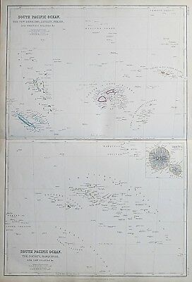 1859 South Pacific Ocean Friendly Low Islands Genuine Antique Map Blackie
