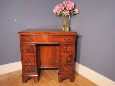 Small Flame Mahogany Georgian Style Twin Pedestal Ladies Desk