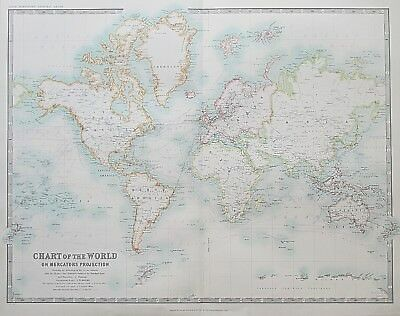 1914 Large Map CHART OF THE WORLD on Mercators Projection Johnston