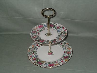 Crown Staffordshire Thousand Flowers 2-Tier Hostess Cakestand Pattern F7117