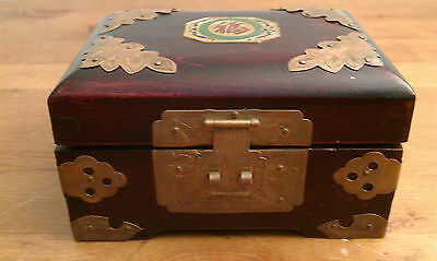 Vintage Shanghai, Engraved Wooden and Brass Jewelry Box