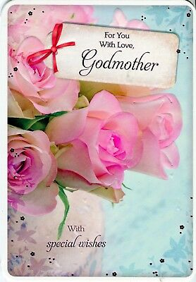 For You With Love Godmother Floral Pink Birthday Card