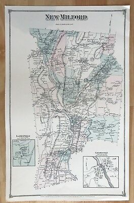 Reproduction New Milford, CT Antique Map, Original from 1882