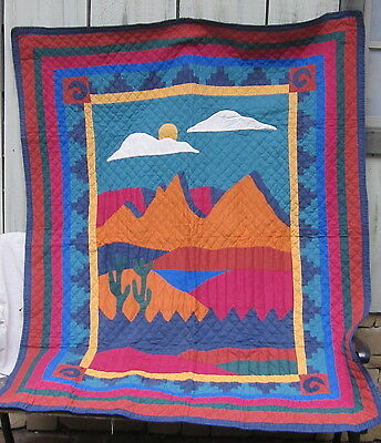 Hand stitched Quilt Wall Hanging Featuring Southwestern Stylized Scene