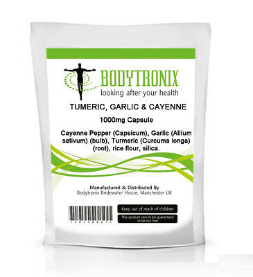 Bodygenix Turmeric,Garlic &Cayenne 1000mg CAPSULES High Strength Free Fast Post