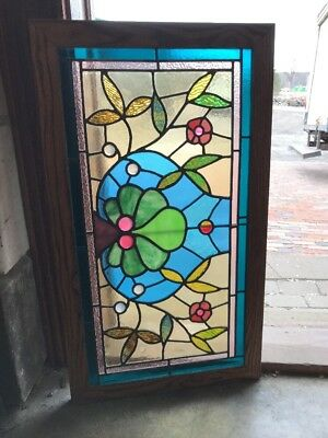 Sg 2091 Antique Jeweled Stainglass Victorian Transom 19 X 33.5