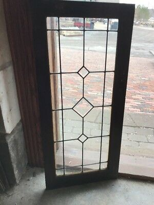 SG 2097 antique cabinet door or transom window bevel and leaded glass 36.25 x 1…