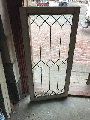 Sg 2102 Antique Leaded Glass Cabinet Door Or Window 22.25 X 48