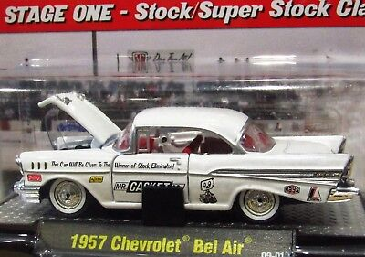 M2 Machines Chase 57 1957 Chevrolet Bel Air Auto Drags Super Stock Car  White Htf