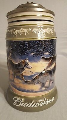"""2001 Budweiser """"Run for the Moment"""" Beer Stein from the Wolf Pack Series #CS471"""