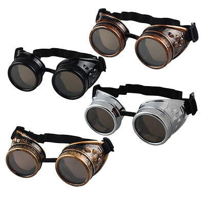 Vintage Victorian Steampunk Goggles Glasses Welding Cyber Punk Gothic Cosplay NJ