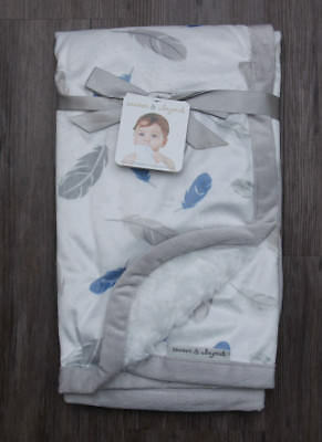 Blankets & Beyond Baby Boy Blanket ~ White, Gray & Blue ~ Feather Print ~