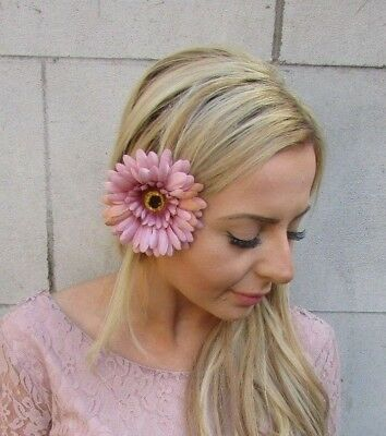 Nude Pink Gerbera Daisy Flower Hair Clip Fascinator Bridesmaid Festival 5463