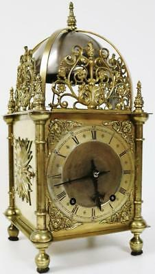 Antique German W&H Pierced Bronze 8 Day Cubed Lantern Bracket Mantel Clock C1860