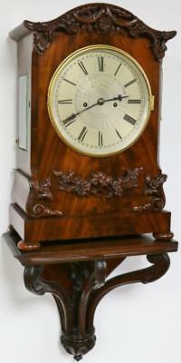 English Twin Fusee Antique Flamed Mahogany Striking Bracket Clock & Wall Bracket