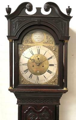 Antique English Carved Longcase Clock 8 Day Grandfather Clock Brass Dial C1750