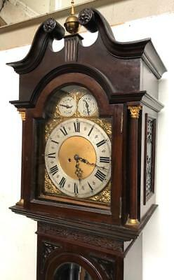 Musical Antique Longcase Clock Brass Dial Mahogany 8 Day Grandfather Clock C1900