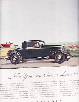 1932  Lincoln V-8 Two Passenger Coupe   Magazine Ad / Advertisement