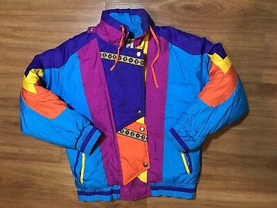 Vintage Colorblock Jacket Boys Medium 80s 90s Abstract Crazy Patterns