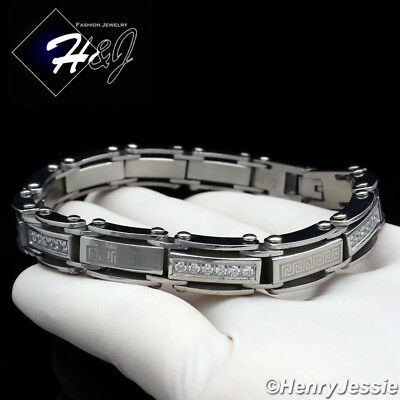 "8.5""MEN Stainless Steel 9mm Silver ICED CZ & Greek Key Link Chain Bracelet*B96"