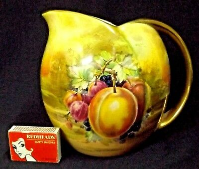 1940's Hand Painted Artist Signed Lge Royal Winton Jug Still Life Fruit Gilded++
