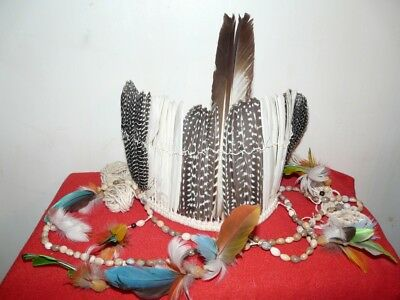Kayapo Brazil Amazon Indian Small Headdress And Necklace