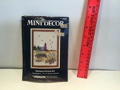 "New Mini Decor Spring Morning Crewel 5"" x 7"" craft Kit 2425 Paragon Needlecraft"