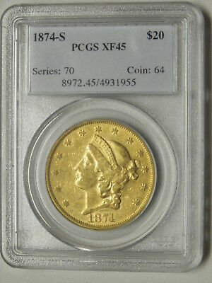 $20 Liberty Gold Coin Double Eagle 1874 S Pcgs