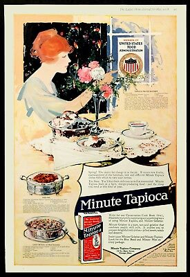 1918 MINUTE TAPIOCA WWI Recipes Fish Pie Food Warmers & Flowers BIG Vtg Color AD