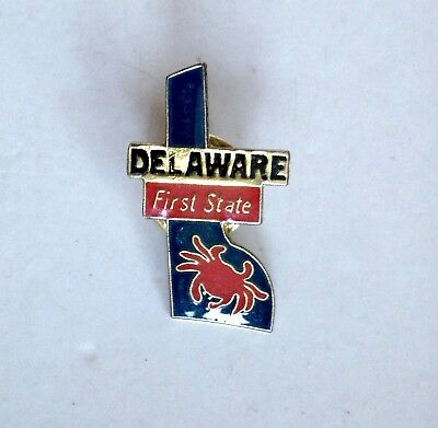 DELAWARE First State Lapel Pin Pinback * Vintage * Combine Shipping!