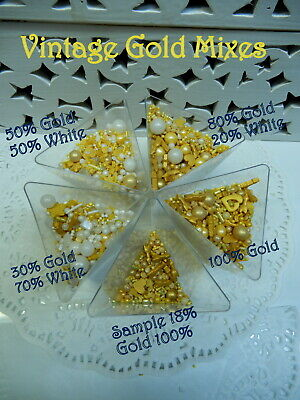 Gold & White Wedding Day Jumbo Size Blended Mix Cupcake Sprinkles Decorations