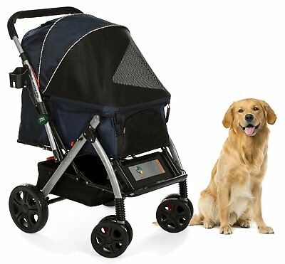 HPZ PET ROVER Premium Heavy-Duty Carriage Stroller for SM/MD/LG Dog & Cat - NAVY