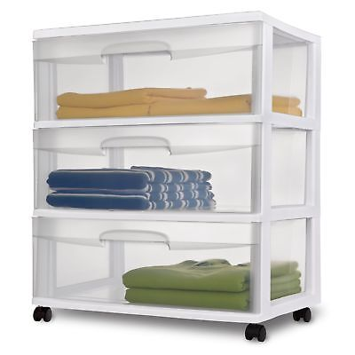 3 Drawer Home Wide Clear Rolling Plastic Storage Container Organizer Cart  White