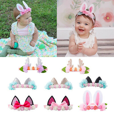 Cute Baby Girl Kids Bowknot Headband Cat Deer Bunny Rabbit Ear Hairband Headwear