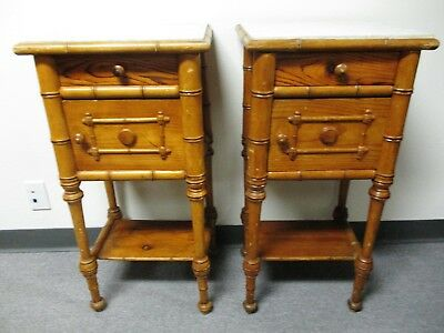 19Th Century Victorian Horner Style Carved Bamboo Pine Pr Nightstands Commodes