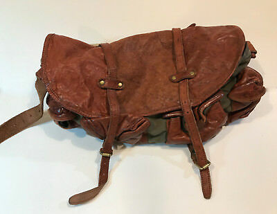 Tough Jeansmith distressed leather and canvas multi pocket messenger bag