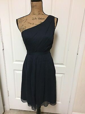 5bb319e542f58 Nwt $250 J.crew Petite Kylie Dress 100% Silk Cocktail Navy Blue Chiffon 8P