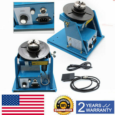 "110V Rotary Welding Positioner Turntable Table 2.5"" 3 Jaw Lathe Chuck 2-10RPM US"