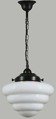 "New Art Deco Complete Chain Set Beehive 10"" Light Pendant Hallway Bedroom Black"