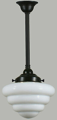 "New Art Deco Complete Rod Set Beehive 10"" Light Pendant Hallway Bedroom Black"