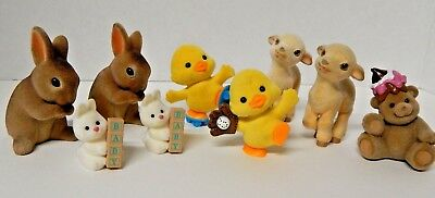 Hallmark Merry Miniature Russ Figurine Easter Flocked Lamb Bunny Duck  Lot
