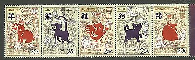 2013 Year Of The Snake  Rare!  Strip Of 5 Christmas Island    Bargain