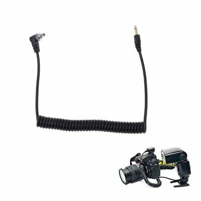 """PC Sync Cord 3.5mm 1/8"""" Plug to Male Flash Extend Spring Cable with Screw Lock"""