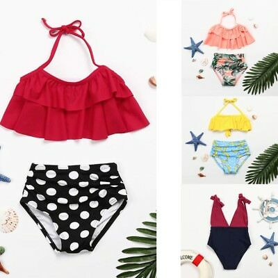 2Pcs Toddler Baby Kid Girls Ruffles Swimwear Bathing Bikini Set Outfits Swimsuit