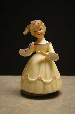 Vintage 1963 Schmid Brothers Inc. Porcelain Girl Figurine Music Box - Works