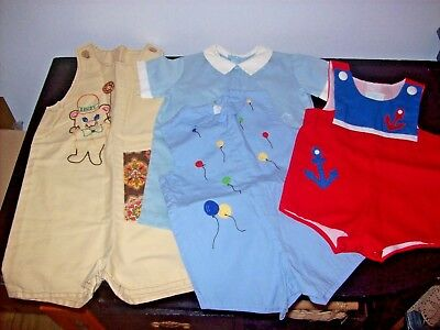 Vintage Baby Boy Rompers One Piece Outfits Lot of 4