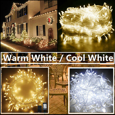 Warm White 500 LED 30-200M Christmas Fairy String Lights Wedding Garden Colorful