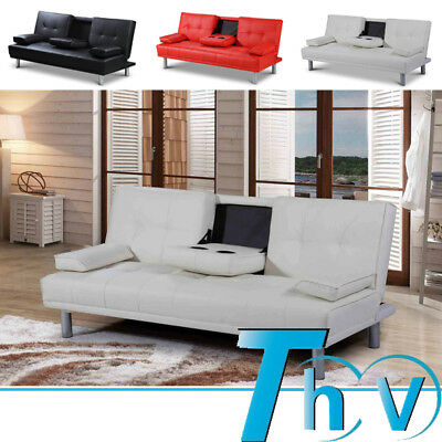 2 / 3 Seater Small Black / Red / White Faux Leather Sofa Bed Click Clack Design