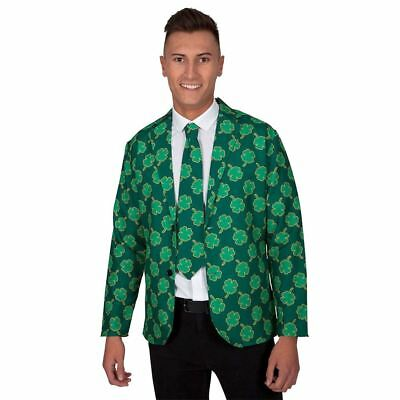 Mens St Patricks Day Jacket & Tie Irish Shamrock Adult Fancy Dress Costume